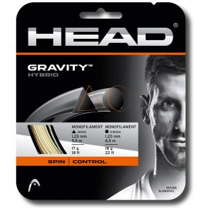Cordage Hybrid Head Gravity (TopSpin) 1,25 mm + 1,20 mm Blanc/Anthracite - 1 raquette