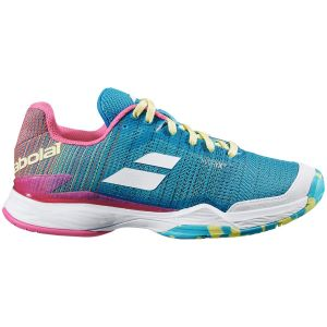 Chaussures Dame Babolat Jet Mach II 2020 - Turquoise/Rose - Toutes surfaces