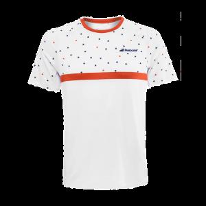 T-Shirt Technique Homme Babolat Compete 2020 -Blanc/Terre Battue