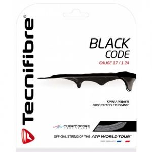 Cordage Tecnifibre Black Code - Prise d'effets - Confort - 12m Noir