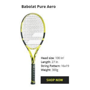 Légendaire Babolat Pure Aero 300 gr Modèle de R. Nadal et beaucoup d'autres en ATP et WTA (non cordée)