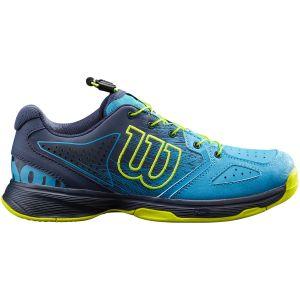 Chaussures Junior Compétition Wilson Kaos Bleu/Jaune - Toutes surfaces - Lacets Serrage Rapide