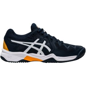 Chaussures Junior Asics Gel Resolution 8 GS - Marine/Orange - Terre Battue