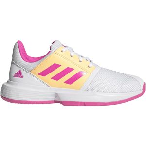 Chaussures Junior Adidas CourtJam XJ - Blanc/Rose - Toutes Surfaces